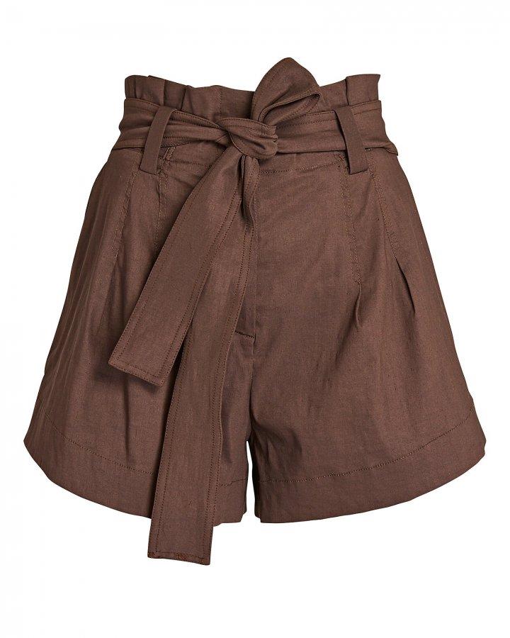Joey Linen-Blend Paperbag Shorts