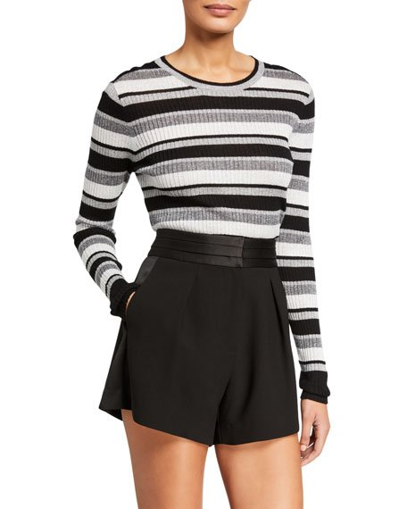 Panel-Stripe Metallic Ribbed Pullover Sweater