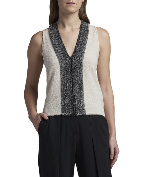 Metallic-Front Boucle Knit Tank Top