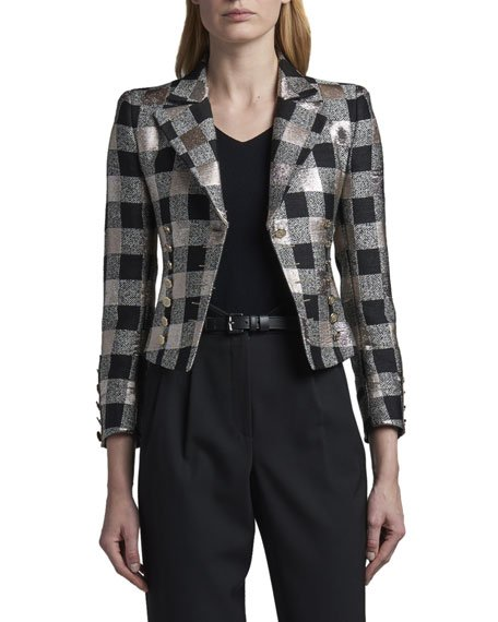 Bold-Checked Metallic Jacket