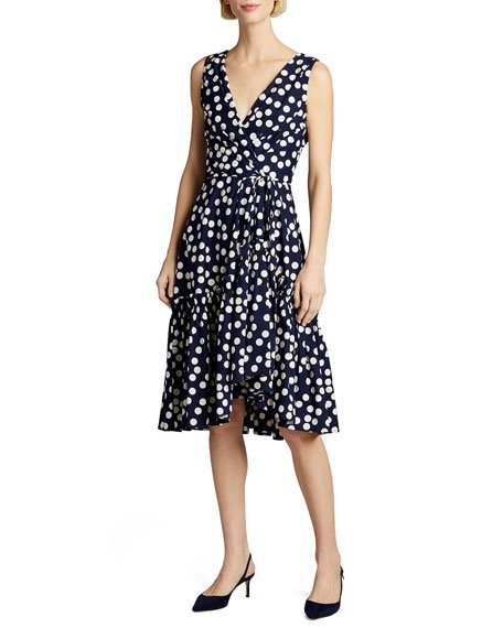 Polka-Dot Print Poplin Tie-Waist Dress