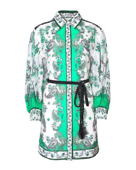 Paisley Print Button Down Dress