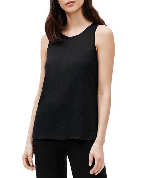 Organic Linen Jewel-Neck Tank