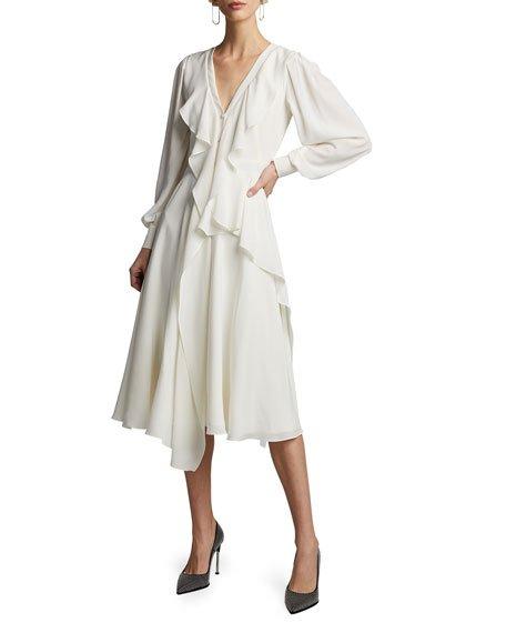 Silk Ruffled V-Neck Dress