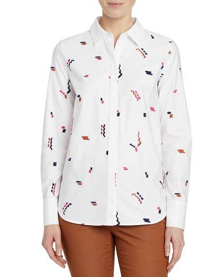 Scottie Embroidered Cotton Poplin Utility Shirt