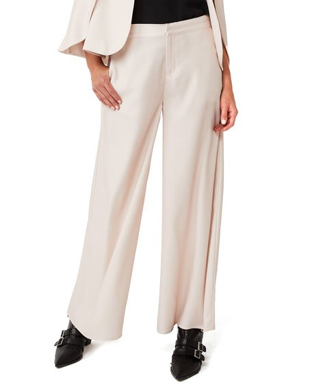 Far And Away Wide-Leg Silk Trousers