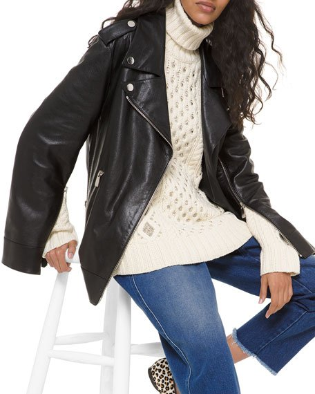 Slit-Sleeve Leather Moto Jacket