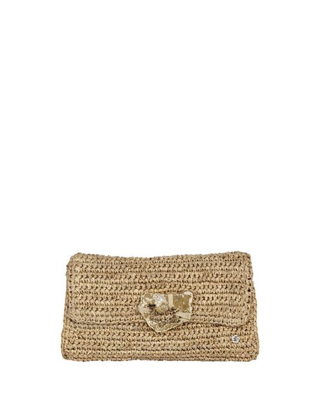 Esplendor Raffia Metallic Clutch Bag