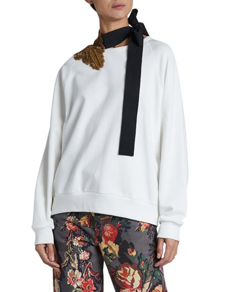 Hebiso Metallic Embroidered Tie-Neck Sweater
