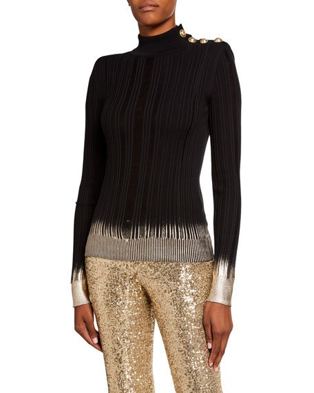 Metallic Degrade Mock-Neck Sweater