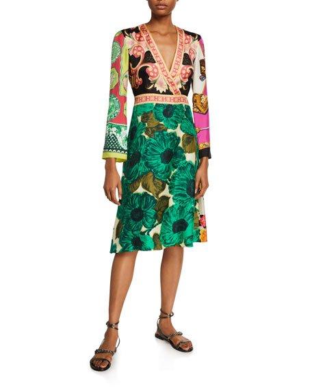Floral-Patchwork-Print Silk Dress