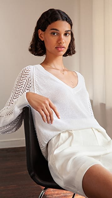 Ami Pointelle Lace V Sweater
