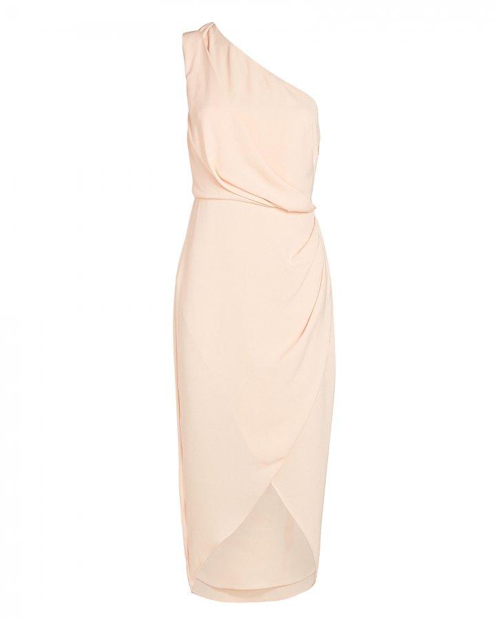Agnes One-Shoulder Crepe Midi Dress