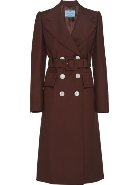 Prada Double-Breasted Belted Coat Ss20 | Farfetch.com