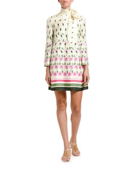 Floral-Print Silk Tie-Neck Shift Dress