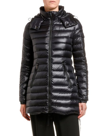 Menthe Removable-Hood Horizontal Puffer Coat