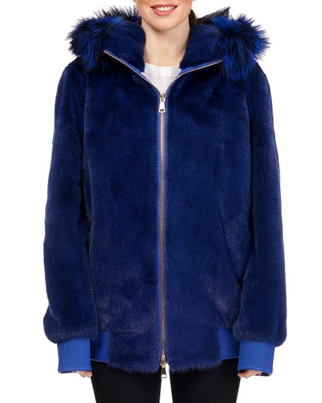 Mink Fur Zip-Front Hooded Jacket with Fox Fur Trim, Royal Blue