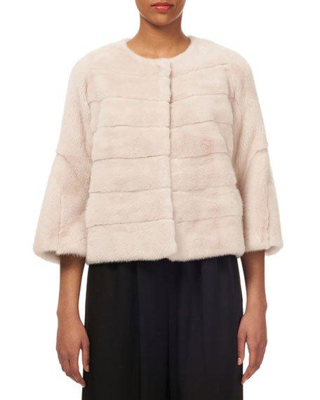 Short Nap Horizontal Mink Jacket w/ Bell-Sleeves