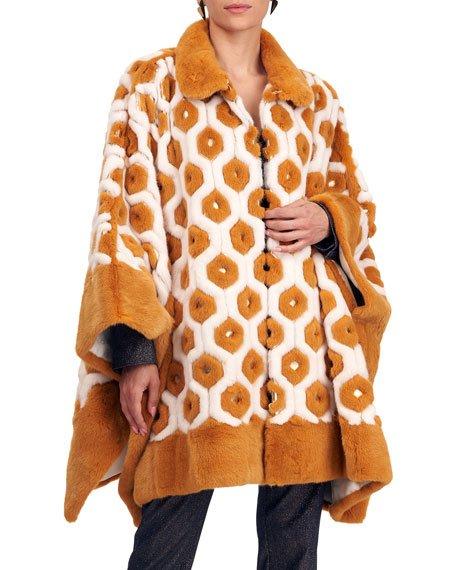 Geometric Mink Fur Cape with Golden Leather Trim