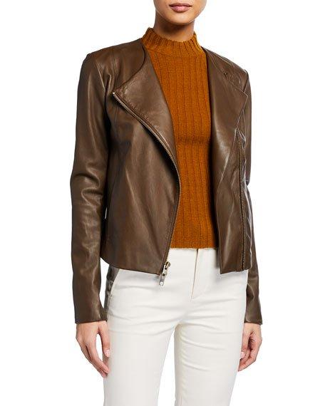 Rib-Panel Leather Moto Jacket