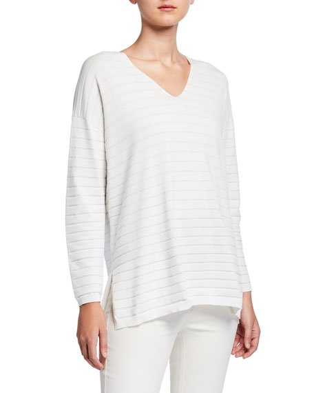 Striped Matte Crepe V-Neck Pullover Sweater with Lurex
