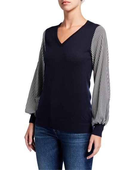 Superfine V-Neck Long-Sleeve Sweater w/ Striped Sleeves