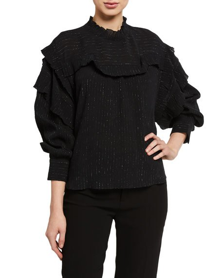 Moyra Ruffled Metallic-Pinstriped Blouse