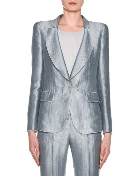 Metallic Linen Chevron Button-Front Blazer, Ice Blue