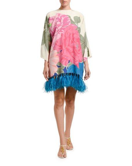 Feathered Long-Sleeve Dress