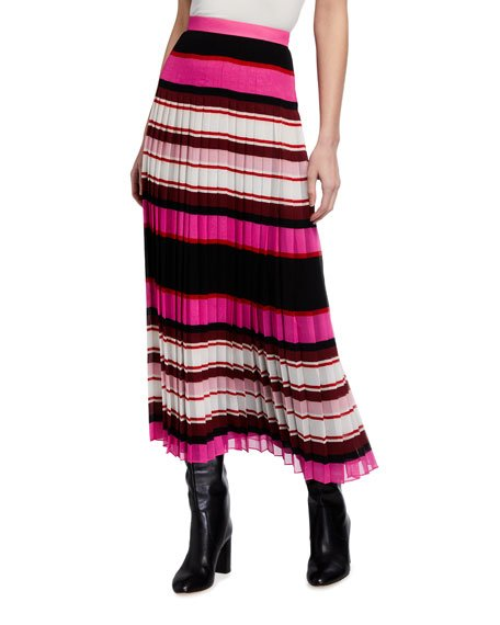 Striped Plisse Midi Skirt