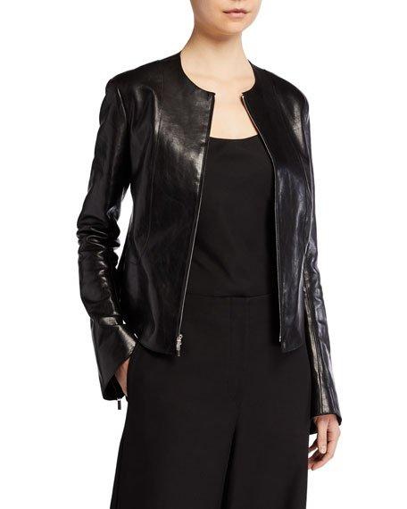 Saori Bell-Sleeve Leather Moto Jacket