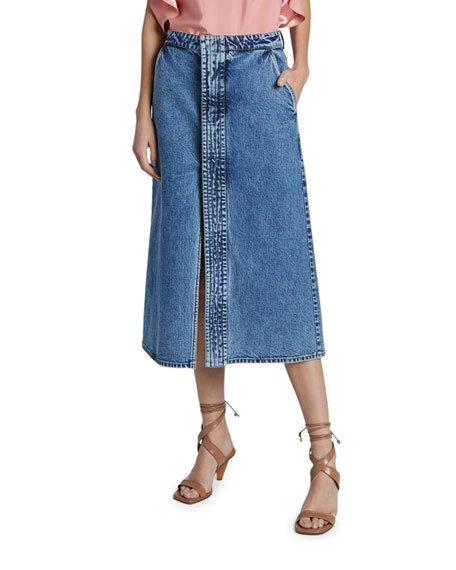 Light Wash Denim Midi Skirt with Front Slit