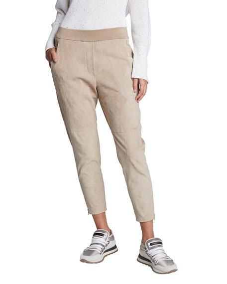 Cotton-Felpa Jogger Pants w/ Zip Cuffs