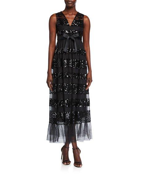 V-Neck Sequin-Stripe Sleeveless Tulle Dress w/ Bow