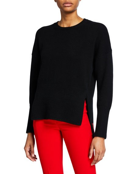 Wool-Cashmere High-Low Sweater with VLTN Inset