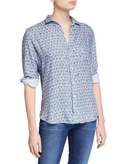 Eileen Floral Button-Down Long-Sleeve Modal Shirt
