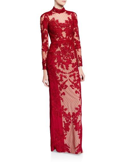 Mock-Neck Long-Sleeve Point d\'Esprit Lace Illusion Gown