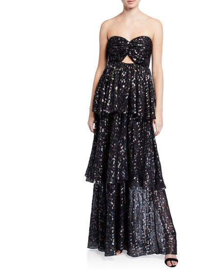 Brianna Strapless Tiered Metallic Gown