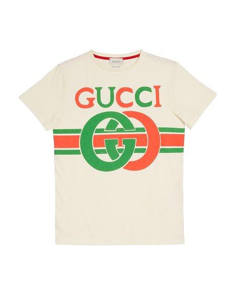 Kids\' GG Logo Tee, Size 4-10