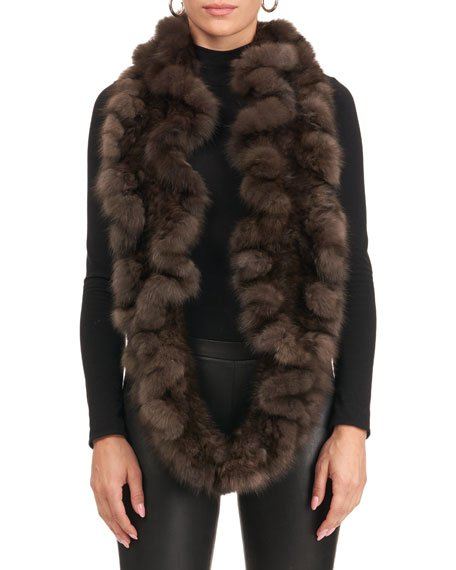 Sable Fur Knit Infinity Scarf with Ruffles