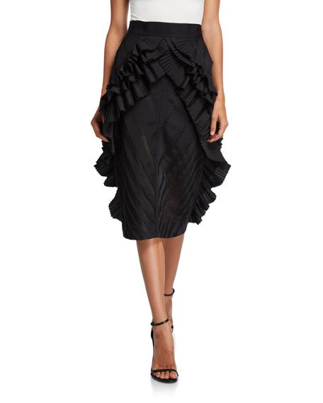 Victoria Wing-Pleated Skirt