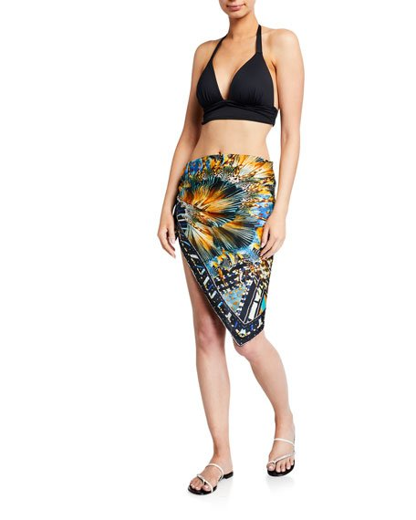 Printed Square Scarf Sarong Coverup
