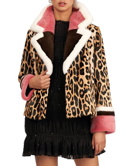 Animal-Print Goat Fur And Short-Nap Mink Fur Jacket
