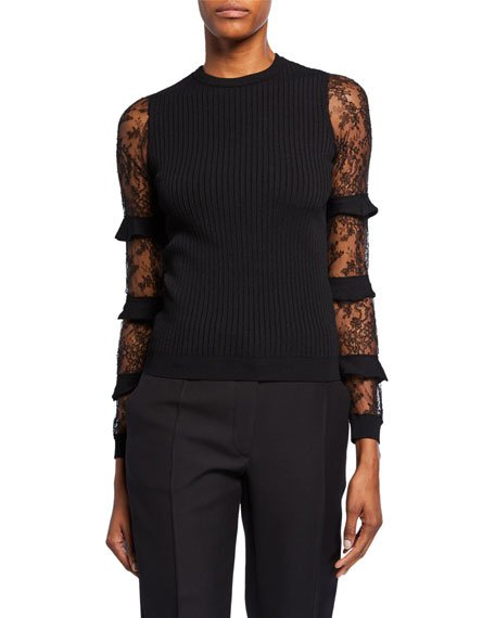 Chantilly-Lace Ruffled Sleeve Sweater