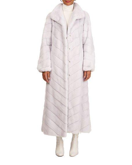 Chevron Mink Fur Coat W/ Bubble Sleeves