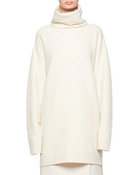 Gene Cashmere/Silk Funnel-Neck Sweater