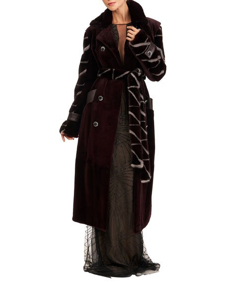Sheared Mink Fur Coat w/ Intarsia Sleeves  & Self Belt