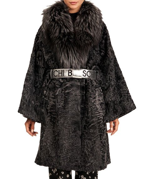 Karakul Short Coat with Silver Fox Collar