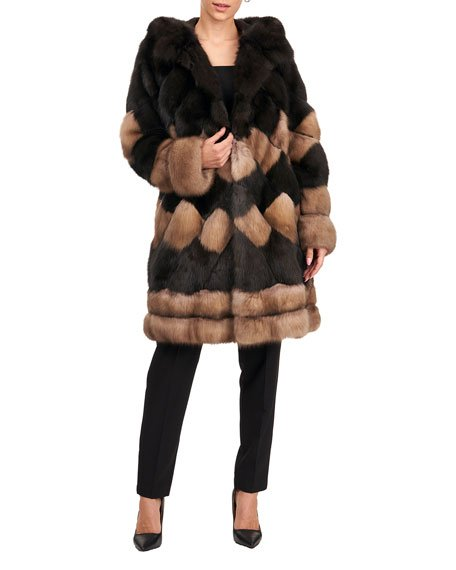 Two-Tone Diagonal Sable Fur Parka Jacket