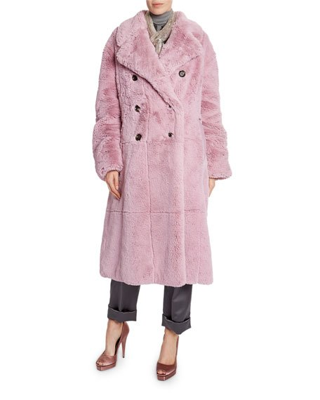 Faux-Fur Double-Breasted Big Coat
